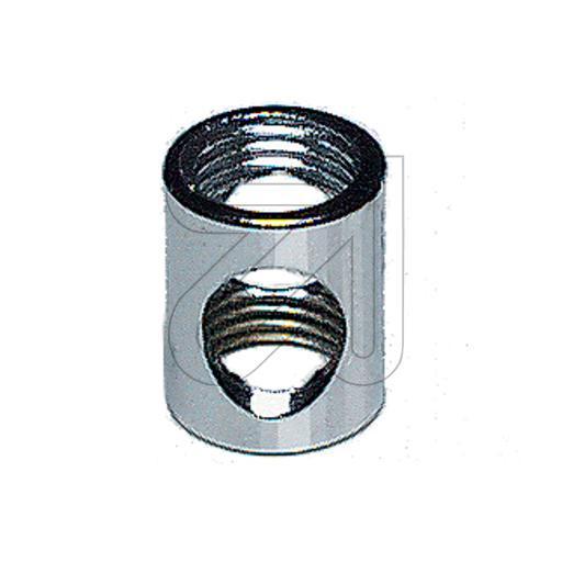 Auslaßmuffe M 10x1 / M 10x1, Innengewinde, messing oder chrom Lampenzubehör
