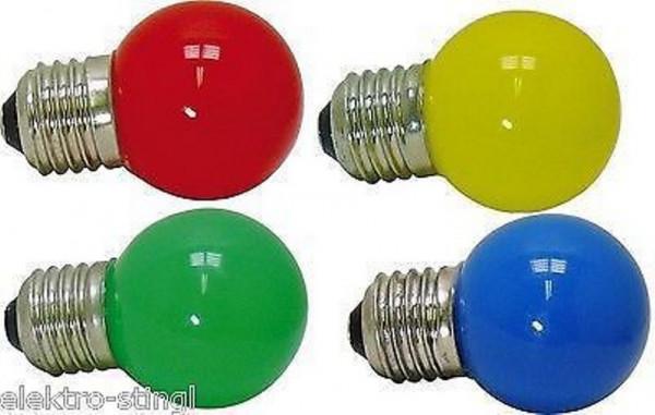 LED Glühlampe Tropfen E27 1 W, Set bunt, rot, gelb, grün, blau, farbig Glühbirne