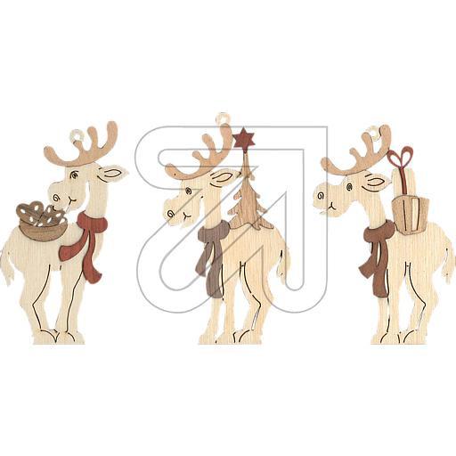 Baumschmuck Elche 6er Set Holz natur Weihnachten, Advent, Deko, Fensterbild