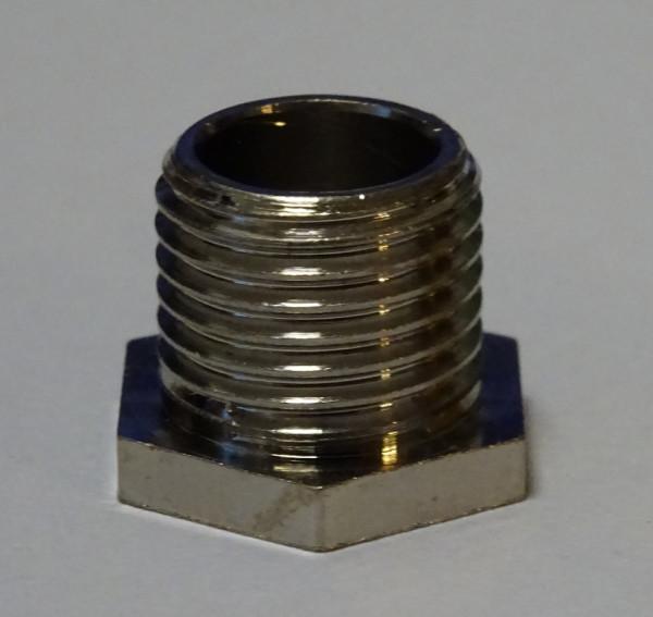 Trompetennippel Gewinde M 10x1, 8 mm, Außengewinde, messing oder vernickelt