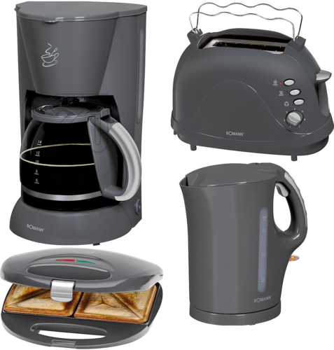 Bomann Frühstücksset Set grau, Kaffeeautomat, Sandwichmaker, Toaster, Wasserkocher